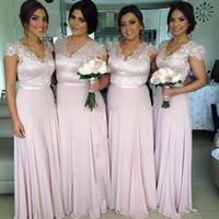 Wholesale Bridesmaid Short Sleeve Design - 2017 new style cheap price pink lace chiffon bridesmaid dresses A-line v-neck floor length zipper short sleeves new design custom made