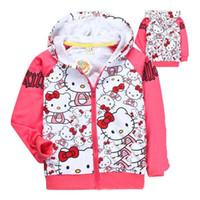 зимняя розовая куртка для девочки оптовых-Детская одежда мультфильм девушка зимняя куртка детские пальто Пальто Hello Kitty розовый белый девушки ребенок дети куртка балахон бывшие в употреблении девушки одежда