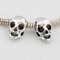 europäisches armband großes loch silber großhandel-Heiß ! 100 stücke Antike Silberne Legierung Schädel Großes Loch-korn-passende Europäische Perlen Armband DIY Schmuck 15x9mm