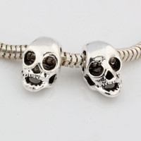 Wholesale large oval beads - Hot ! 100pcs Antique Silver Alloy Skull Large Hole Bead Fit European Beads Bracelet DIY Jewelry 15x9mm