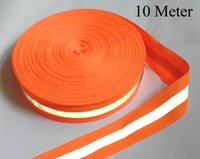 Wholesale Wholesale Reflective Sew Tape - Wholesale-50mmx15mm * 10 Meter,Oxford Orange-Silvery-Orange reflective fabric sewing tape,sewn on tape,free shipping