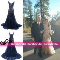 vestido de strass azul marinho venda por atacado-Partido Marinha das Trevas Árabe Prom Vestidos Sparkly Rhinestone Maxi Espartilho e Tule Pageant Vestidos árabe Formal Wear