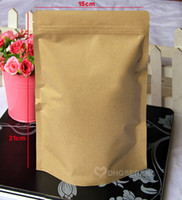 Wholesale Kraft Paper Zipper Top Bags - 100pcs lot- 15*21+4cm zipper top Aluminum foil coated Kraft paper bag Stand up pouch for tea nuts dried food packaging