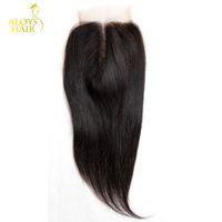 remi insan saçı toptan satış-Bakire Hint Dantel Kapatma Sınıf 6A Işlenmemiş Ham Bakire Hint Remy İnsan Saç Kapaklar Düz Ücretsiz / Orta / 3 Bölüm Hint Remi Kapatma