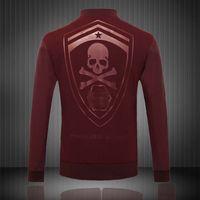 Wholesale Punk Leather Jacket Men - Fall-Fashion Style Mens Brand Jackets And Coats Punk Skulls PU Leather Sleeve Jacket Casual Black Red M-3XL