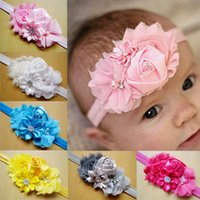 2017 Rhinestones Diamond Baby Flowers Headband Hair Band headwear Niños cosidos Ribbon Chiffon flor niños rosa 10 colores