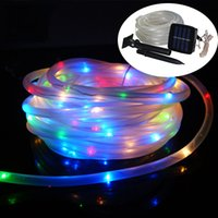 All'ingrosso-Solar Power LED Rope Tube String Light 10M 100led Outdoor Fence impermeabile luci Festa di Natale Festa nuziale Lampada da giardino