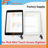 Wholesale ipad mini parts - for iPad Mini 1 2 Touch Screen Digitizer with Home Button & Adhesive and IC Replacement Repair Parts High Quality Black White Factory Supply