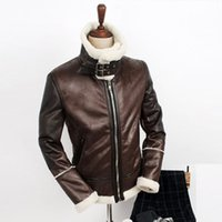 Wholesale Men Free Shipping Korean Clothing - Fall-HOT ! Free shipping Men's fahion New winter Korean heirs same paragraph warm lamb's wool leather clothing fut jacket coat