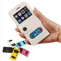 Wholesale coatings mobile resale online - Free Flip Answer Mobile Coat Fashion Double Window PU Whole Covers With Maganetic and Support Cases For iPhone Plus Plus pc