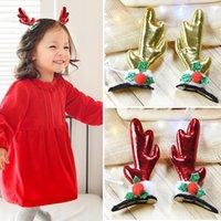 bebek yılbaşı dekorasyonları toptan satış-Çocuk Pamuklu Kumaş Saç Klipler, Bebek Kız Noel Baskılı Noel Dekorasyon Hediye Noel Firkete Saç Tokası Için Klipler