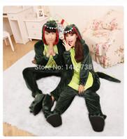 animal de traje dos desenhos animados venda por atacado-Flanela Animal Dragão Verde Dinossauro Pijama Anime Trajes Dos Desenhos Animados Sleepwear Cosplay Onesie