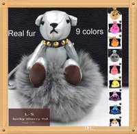 Wholesale Trendy Apparel - 2015 F** bear bag charm big fox fur pom poms 9colors punchy bag bug free shipping lovely fur balls apparel accessory