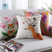 Wholesale red flower print pillowcase for sale - Group buy Nordic Watercolor Flowers Animals Cushion Covers Deer Stag Cat Dog Bulldog Grass Mud Horse Fox Pillowcase Linen Cotton Cushions Pillow Cover