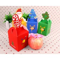 Atacado- 12pcs Cube 10 * 8.5 * 8.5cm Natal dos desenhos animados Papai Noel Candy Box Apple Bags Kids Xmas Party Decoration Paper Gift Boxes