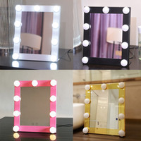 Wholesale Led Lighted Gift Bags - Led Bulb Vanity Lighted Hollywood Makeup Mirror with Dimmer Stage Beauty Mirror Vanity Mirror with Lights for Gift Makeup Bag