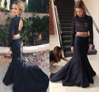 Wholesale Taffeta Knee Length Prom - 2016 Sparkly Black Two Pieces Hollow Back Prom Dresses Sexy Beaded High Neck Long Sleeve Mermaid Evening Gowns Women Party Pageant Gowns