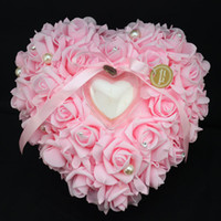 Wholesale Heart Pillow White For Wedding - Pink heart-shaped ring pillow european-style ring pillow bridal wedding ring box for wedding Wedding Supplies 6 colors