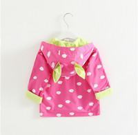 Wholesale girls bunny coat - 2018 New Girl Coat Children Cloud Printed Dust Coat with Pocket and Bunny Ears Hoodie Kids Clothes