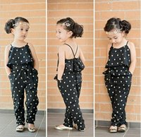 Wholesale girls heart shape outfit - Girls Casual Clothing Sets Summer Sling romper baby Lovely Heart-Shaped jumpsuit cargo pants bodysuits kids clothing children Outfit