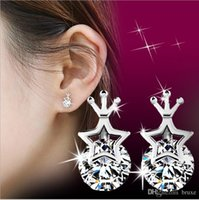 Wholesale Wholesale Crown Gifts - high quality New explosion models Korean silver pentagram earrings Crown Princess female star earrings earrings gift