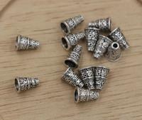 bead end caps achat en gros de-Chaud! Embouts de perle de style bali argent vieilli argentés, cônes 7mmx7mmx10mm (ab685)