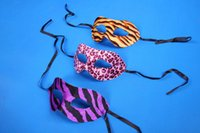 Wholesale Film Suppliers - Half Face Eye Mask Halloween Party Masks Leopard Stripe Cloth Mardi Gras Masks Party Supplier Masquerade Half Face Masks Assorted Colour