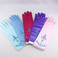 Wholesale Wholesale Silk Girls Gloves - Elsa gloves child accessories princess gloves printing Gloves Cosplay Gloves Girls Long Gloves Elsa free shipping in stock