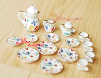 Gros-Dollhouse RICH FLEUR porcelaine Chine Tea Pot Lid Coupes Set 15 PCS
