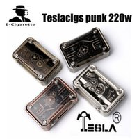Wholesale Punk Tanks - Original Teslacigs Punk 220W Box Mod Powered by dual 18650 battery for rda rba rta rdta atomizer tank 100% Authentic free shipping