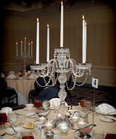peças de centro de vidro para mesa venda por atacado-candeeiro de mesa luzes cromadas candelabro cromo candelabro conjunto de velas casa decoração de casamento Centrais de cristal com candeeiros de mesa de armas de vidro