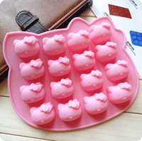 Wholesale Silicone Cat Tray - Pink 16 hole HK cat silicone chocolate mold small fruit cake ice lattice mould lovely cat ice trays ice cube 2015 hot sales