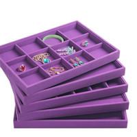 ingrosso vassoio di visualizzazione dell'orecchino di velluto-Gioielli di lusso viola velluto display vassoio vassoio gioielli anelli collana bracciali orecchino vassoio gioielli organizzatore