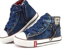 erkek kot ayakkabıları toptan satış-Yeni 2016 Kız Bebek Tuval Çocuk Ayakkabıları Erkek Sneakers Marka Çocuklar Kızlar için Ayakkabı Bebek Kot Denim Düz Çizmeler