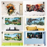 Wholesale Dinosaur Stickers - Cartoon Dinosaur Wall Sticker popular super hero Wall Decals for kids rooms Child Wallpaper 3D Art Decor Decals