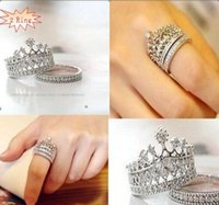 Wholesale Natural Diamond Men Ring - Wholesale-Fine Jewelry Double Rings Austrian Crystal Crown Ring CZ Diamond Real 925 Silver Ring with natural stone for women men Wedding