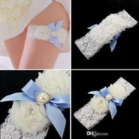 Wholesale Vintage Lace Bridal Garters - New Arrival Free shipping White Wedding bridal Garter Sexy Lace Bow Knot Garter Crystals Sheer Vintage Bridal Garters