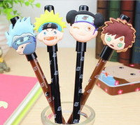 Wholesale Naruto Pens - Wholesale-Beauty 24pcs lot Black Refill Naruto Gel Ink Pen Mix Styles Cartoons Pens Stationery Office School Supplies #GP027