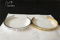 Wholesale Stainless Steel Jewelry Engraved - 2016 Romantic Custom Engraved Words Bangle Bracelet For Women Personalized Love Expression Wedding Anniversary Gifts Jewelry b045