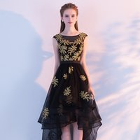 ingrosso tulle asimmetrico nero vestito-Real Photo Black Tulle Con Ricami in oro Scoop Neck Backless Lace Up Cap Sleeve Asimmetrico Cocktail Dress Onepiece Robe De Soiree