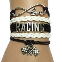 bracelets personnalisés achat en gros de-Gros-Drop Shipping Infinity Amour Racing Bracelet Fag Charm- Custom fait à la main en cuir Wrap Bracelet cadeau d'amitié