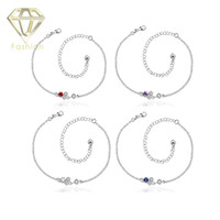 Wholesale Anklet Designs - Ankle Bracelets for Women New Design Delicate Handmade Silver Plated with 4 kind of Color Stone Anklet Bracelet Jewelry