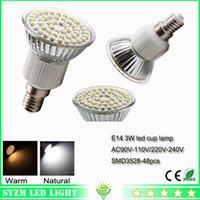 Wholesale 3w E27 Smd3528 - led lights bulbs Warm White Nature White Cool White 48-smd3528 cup lamp E27 12volt 3W led spotlight