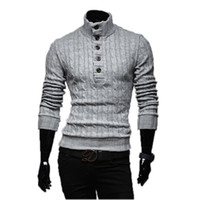Wholesale mens wool coat xxl - Wholesale- Mens Sweaters 2017 New Men Fashion Winter Coat Long-Sleeved Sweater Male Jacket Casual Sweater High Collar Men Sweater Size XXL