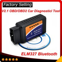 Wholesale Protocols Car Auto Diagnostic Scanner - 2016 10pcs lot ELM 327 ELM327 bluetooth OBD 2 OBD2 OBDII Protocols Auto Car Diagnostic Interface Scanner tool free shipping