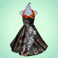 Wholesale Orange Trees Pictures - Tea Length Camo Bridesmaid Dresses 2015 Real Tree Halter Formal Prom Dresses A Line Camouflage Homecoming Party Gowns