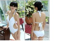 Wholesale Sexy Bathing Suit Criss Cross - Newest Sexy Women's Fringe Monokini Swimwear Fringe Deep V neck Chest Opening Halter Top One-piece Swimsuit Bathing Suit Beachwear B35