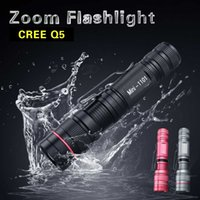 Wholesale CREE Q5 Led Flashlight Torch Modes Zoomable Adjustable Waterproof Mini Led Lamp Flashlight Colors For Camping Cycling