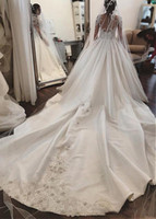 Wholesale Wedding Organza Wrapping - 2018 Luxury Arabic Long Train Wedding Dresses Dubai Long Sleeves Lace Appliques Bridal Gowns Vestidos De Novia
