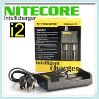 Wholesale e cigarette uk - Original Nitecore I2 Universal Charger fit 18350 18650 14500 26650 E Cigarette mods Battery Multi Function Intellicharger US UK EU AU PLUG